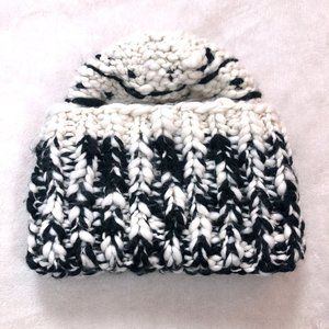 Free People Cream & Black Slouchy Knit Beanie
